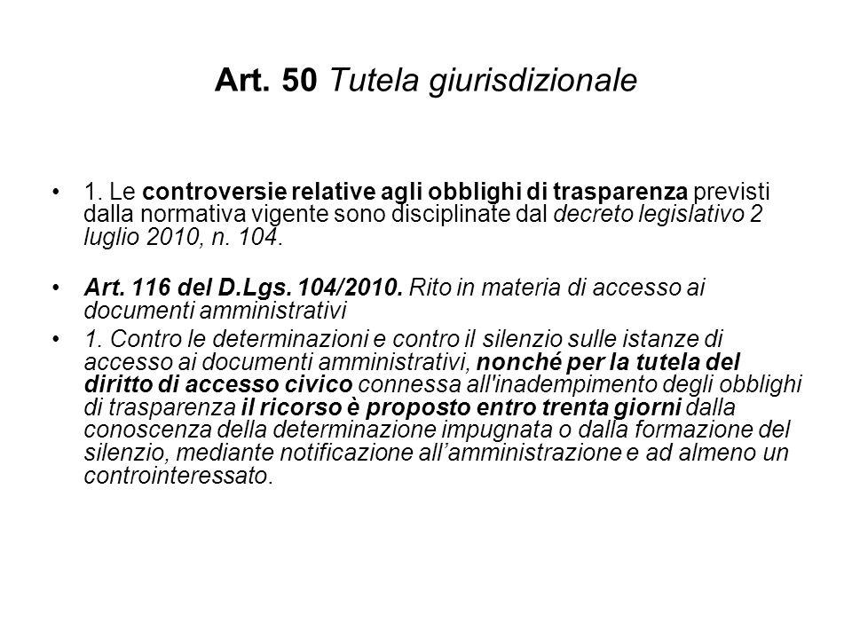 Art. 50 Tutela giurisdizionale