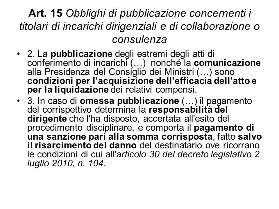 Art. 15 Obblighi di pubblicazione concernenti i titolari di incarichi dirigenziali e di collaborazione o consulenza