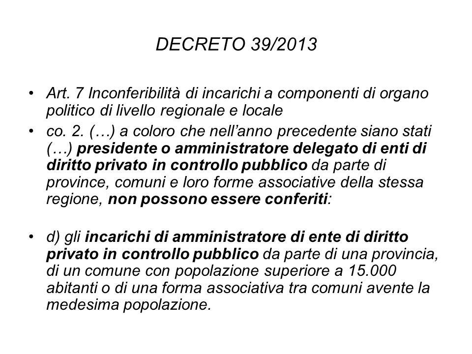 DECRETO 39/2013 Art. 7 Inconferibilità di incarichi a componenti di organo politico di livello regionale e locale.