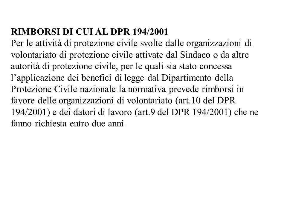 RIMBORSI DI CUI AL DPR 194/2001