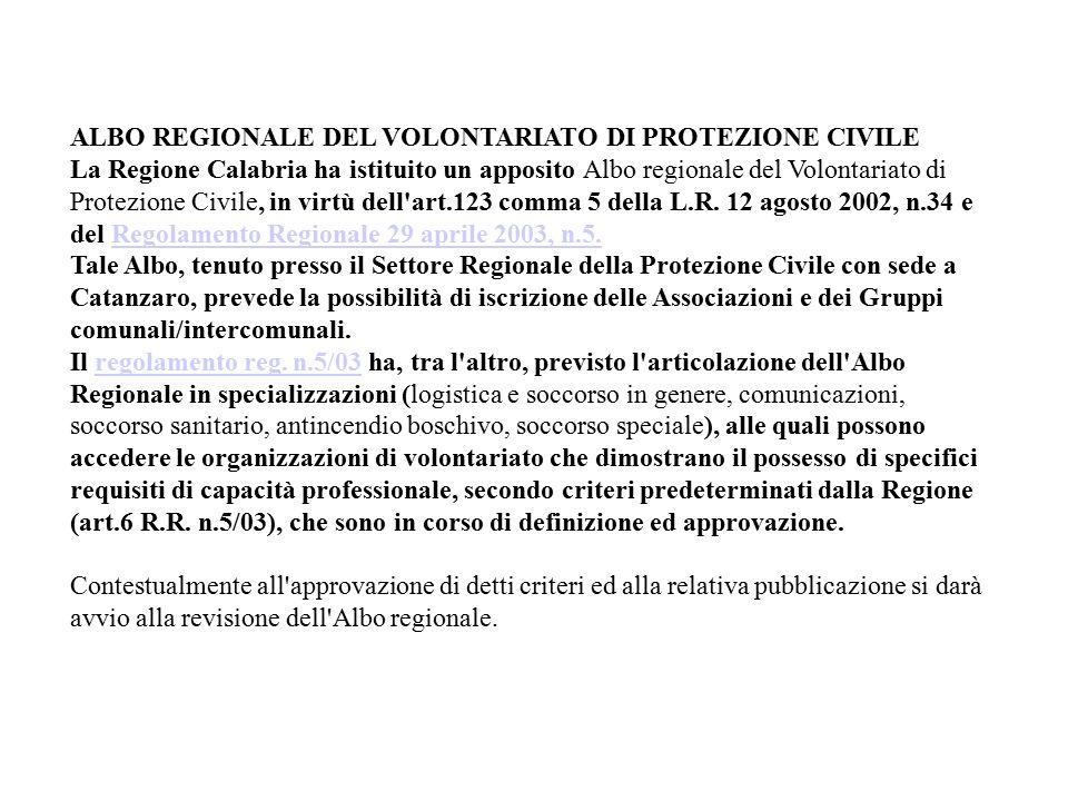 ALBO REGIONALE DEL VOLONTARIATO DI PROTEZIONE CIVILE