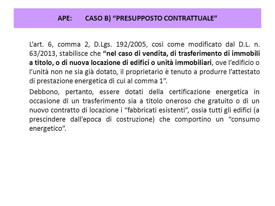 APE: CASO B) PRESUPPOSTO CONTRATTUALE