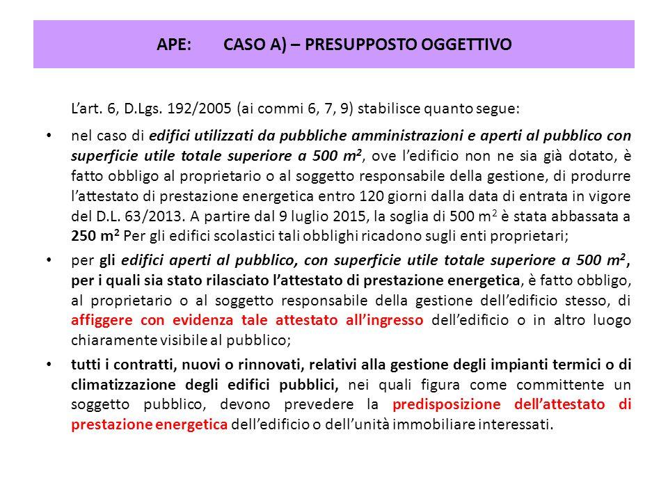 APE: CASO A) – PRESUPPOSTO OGGETTIVO