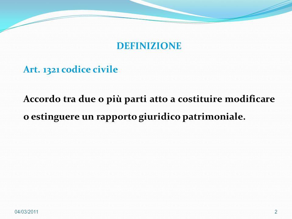 DEFINIZIONE Art. 1321 codice civile Accordo tra due o più parti atto a costituire modificare o estinguere un rapporto giuridico patrimoniale.