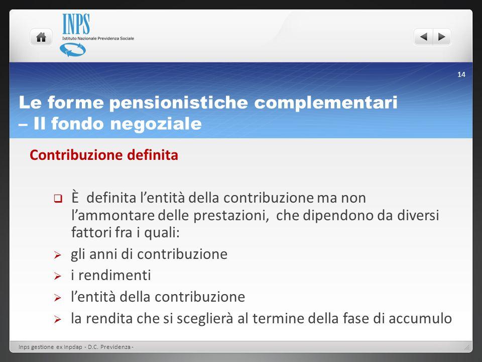 Le forme pensionistiche complementari – Il fondo negoziale