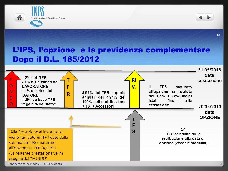 L'IPS, l'opzione e la previdenza complementare Dopo il D.L. 185/2012