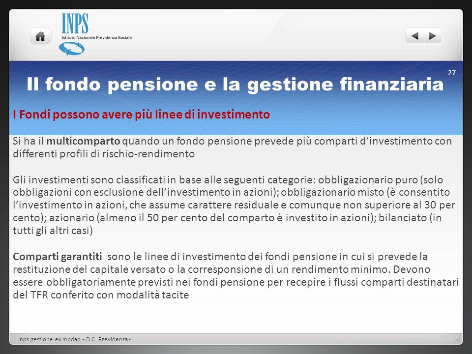 Il fondo pensione e la gestione finanziaria