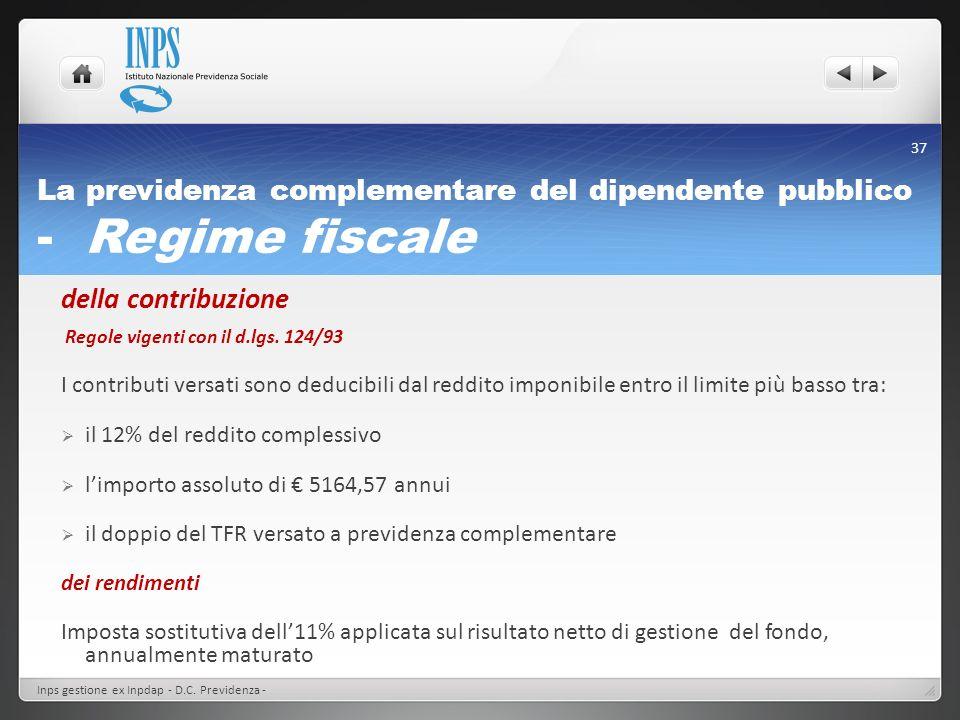 La previdenza complementare del dipendente pubblico - Regime fiscale