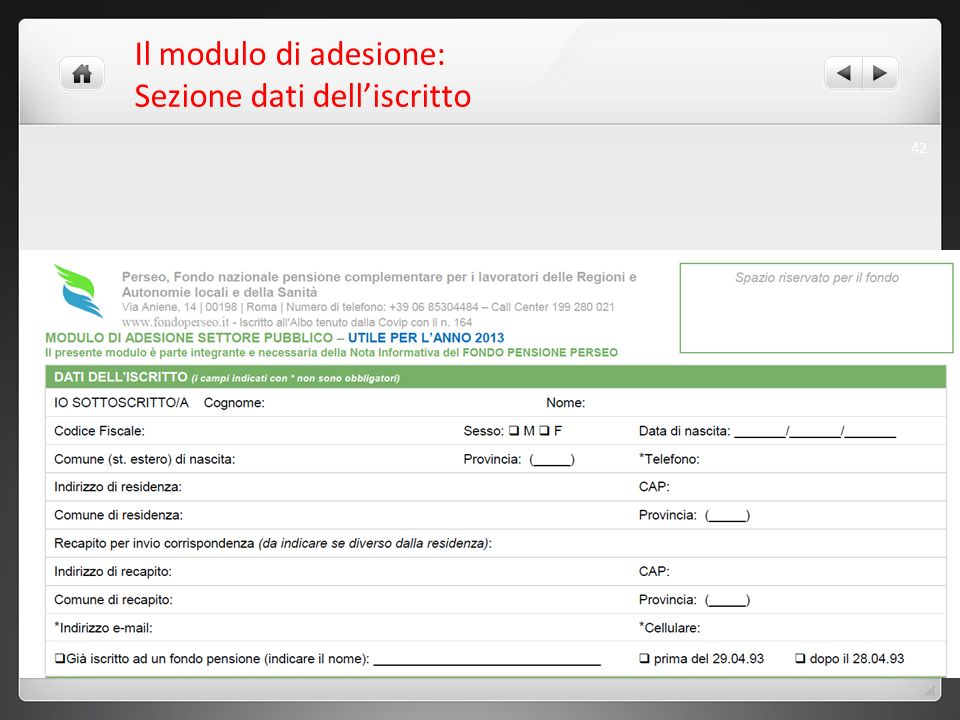 Il modulo di adesione: Sezione dati dell'iscritto