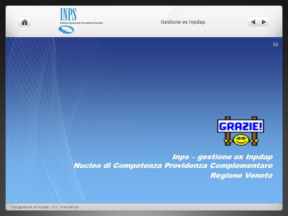 Gestione ex InpdapInps – gestione ex Inpdap Nucleo di Competenza Previdenza Complementare. Regione Veneto.