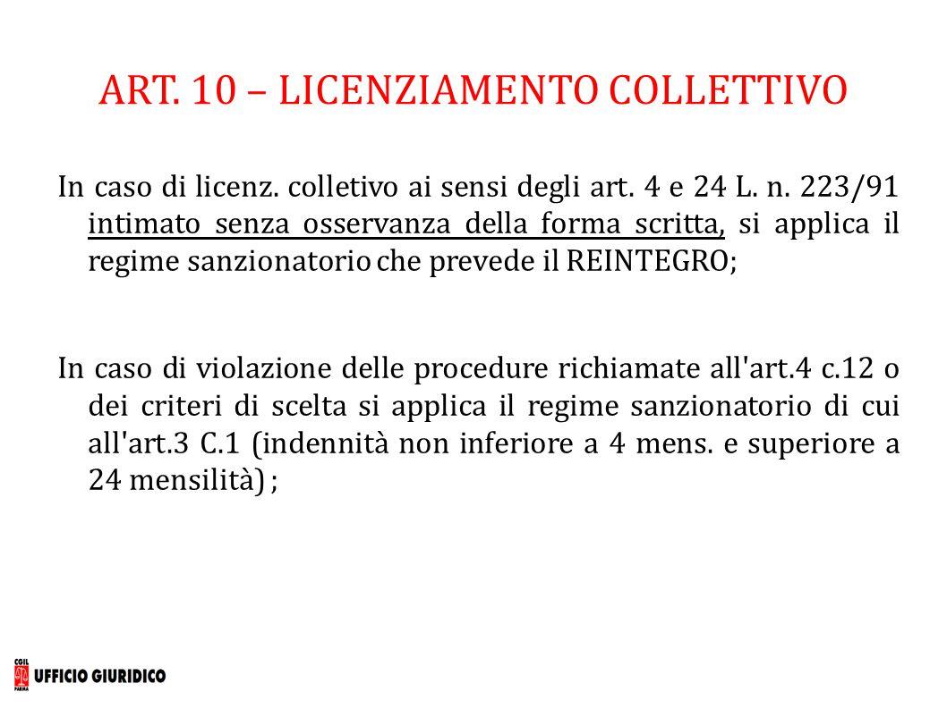 ART. 10 – LICENZIAMENTO COLLETTIVO