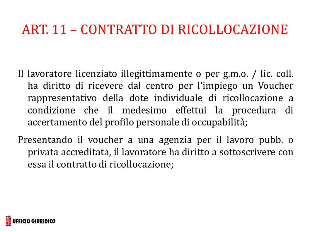 ART. 11 – CONTRATTO DI RICOLLOCAZIONE