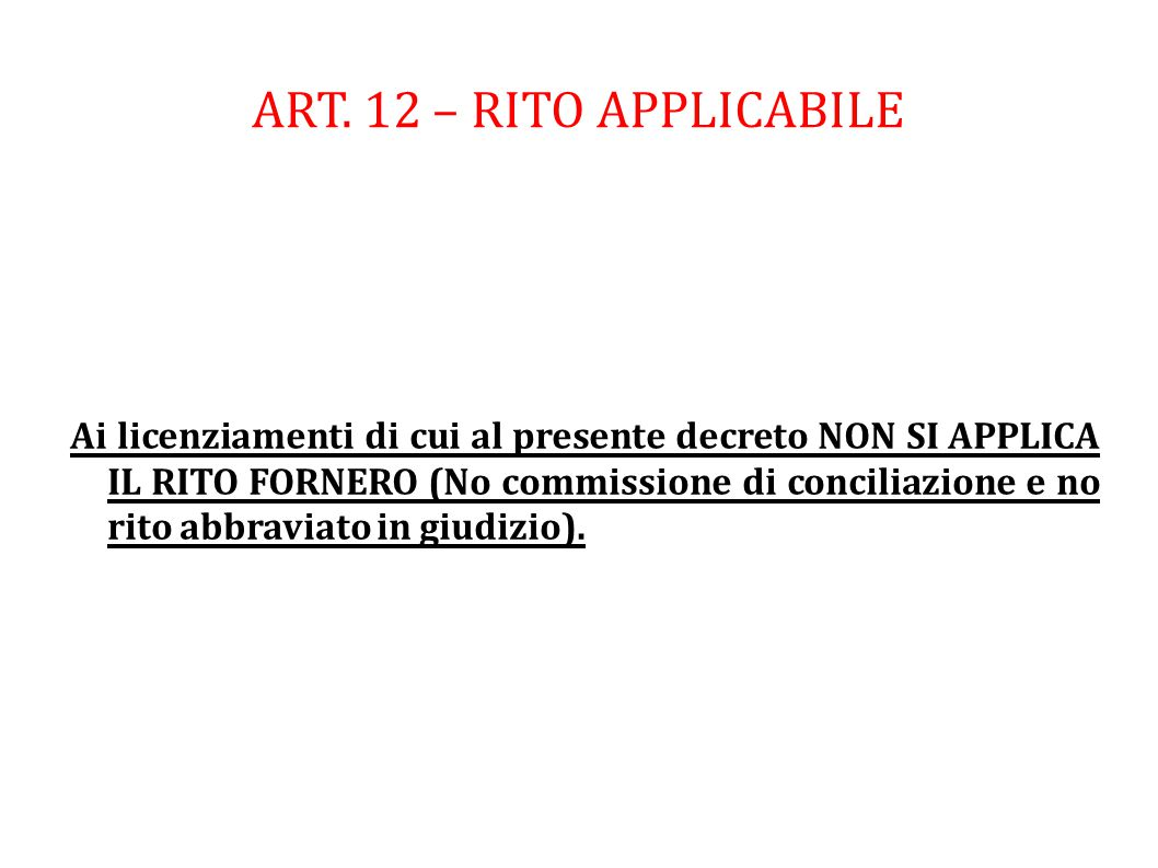 ART. 12 – RITO APPLICABILE