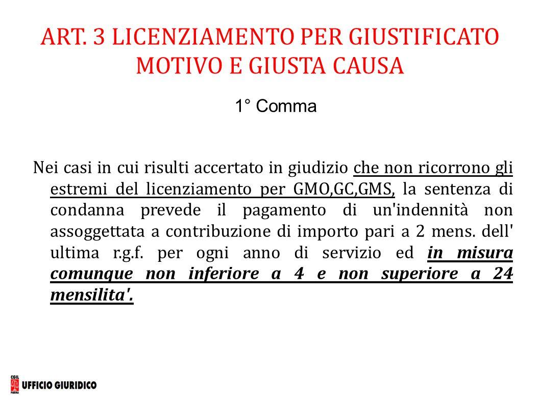 ART. 3 LICENZIAMENTO PER GIUSTIFICATO MOTIVO E GIUSTA CAUSA