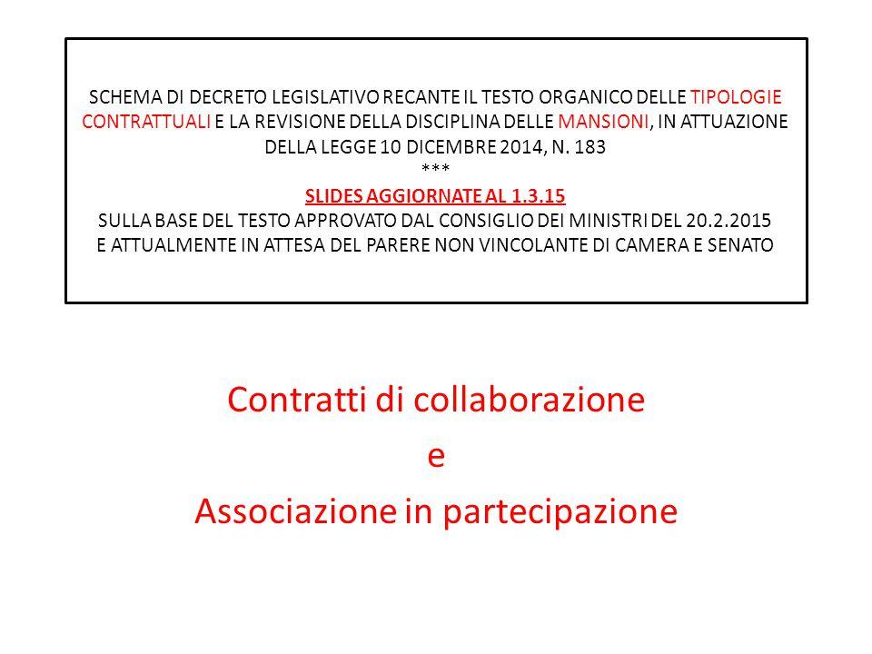 Contratti di collaborazione e Associazione in partecipazione