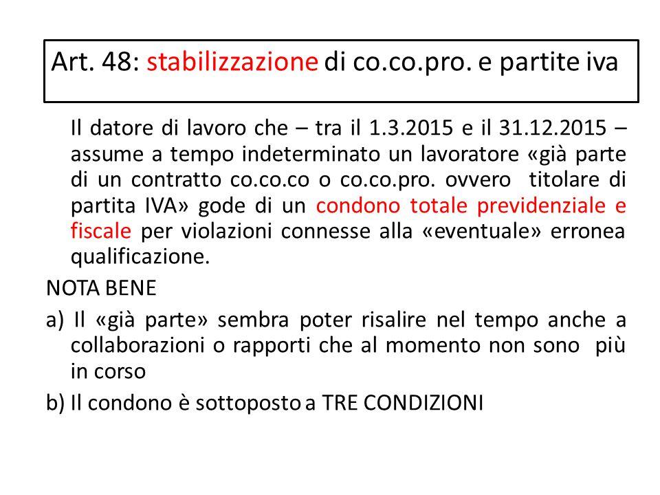 Art. 48: stabilizzazione di co.co.pro. e partite iva