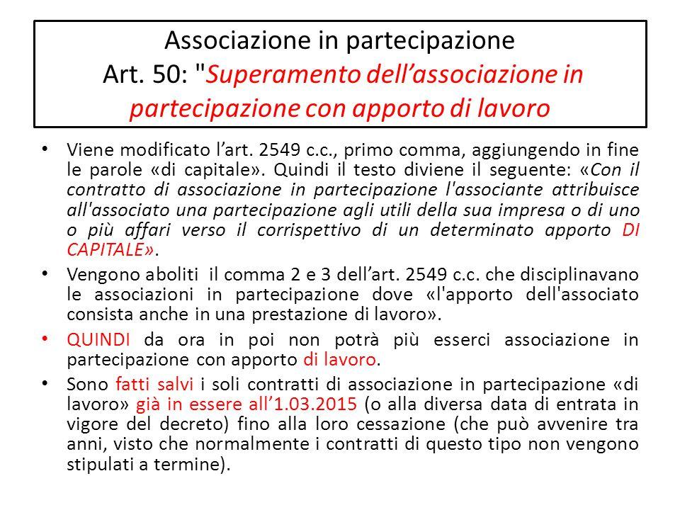 Associazione in partecipazione Art