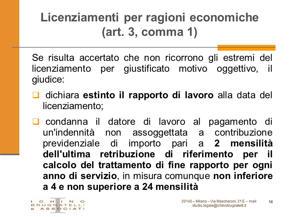 Licenziamenti per ragioni economiche (art. 3, comma 1)