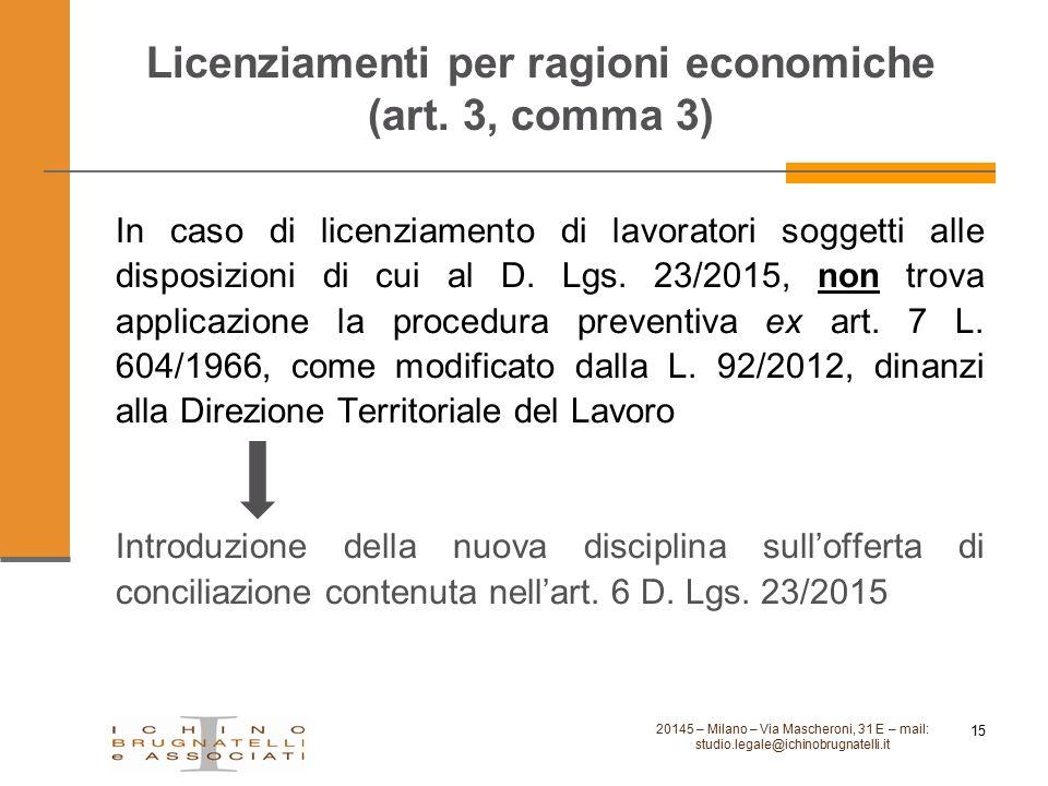 Licenziamenti per ragioni economiche (art. 3, comma 3)
