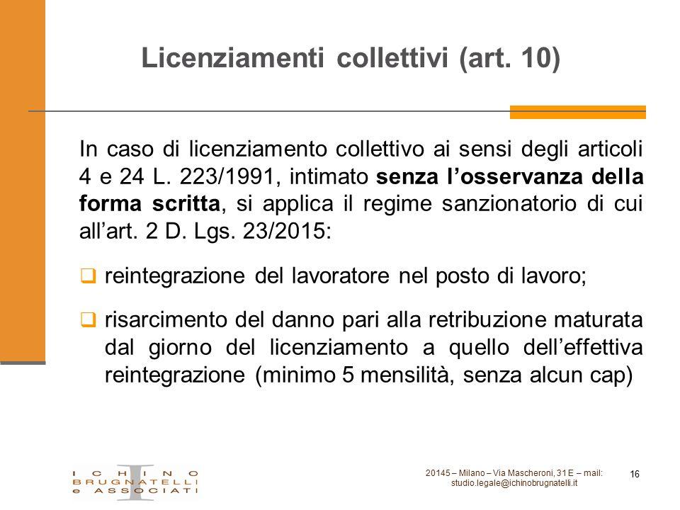 Licenziamenti collettivi (art. 10)