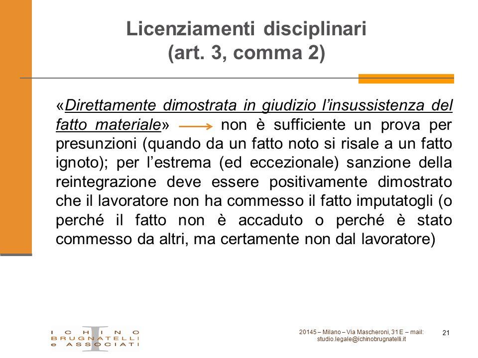 Licenziamenti disciplinari (art. 3, comma 2)