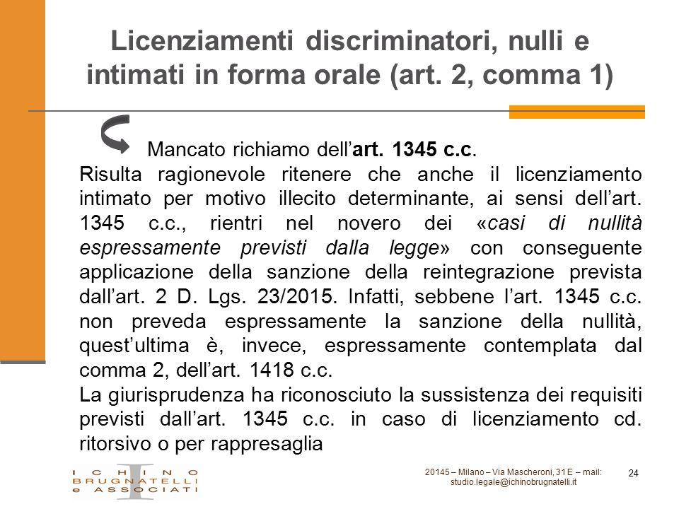 Licenziamenti discriminatori, nulli e intimati in forma orale (art