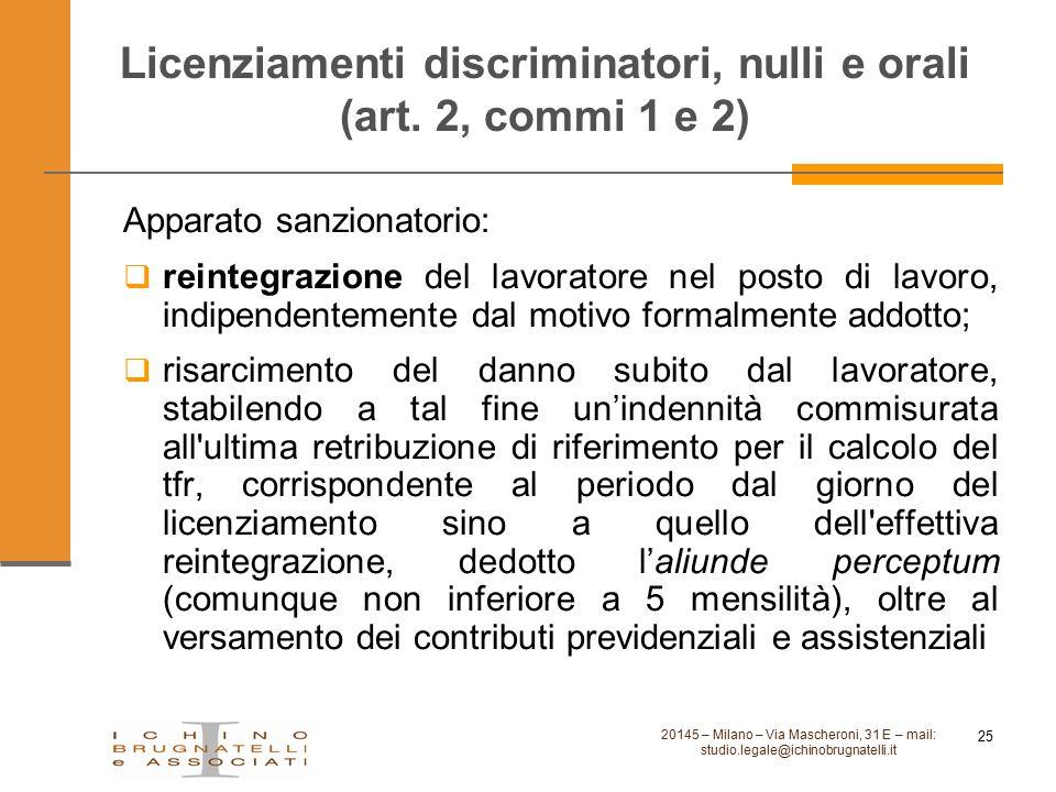 Licenziamenti discriminatori, nulli e orali (art. 2, commi 1 e 2)