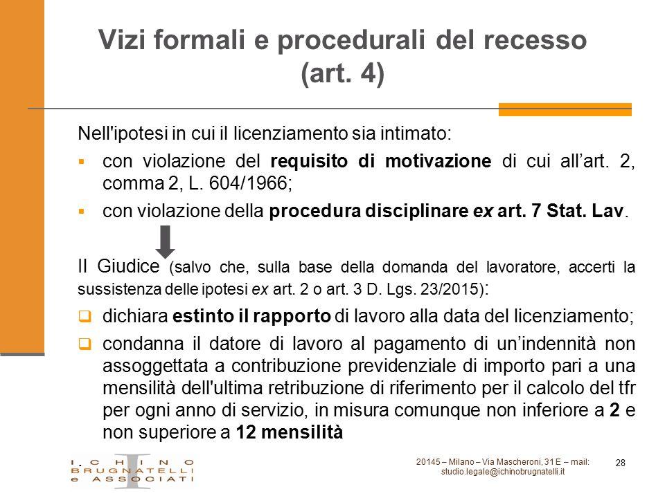 Vizi formali e procedurali del recesso (art. 4)