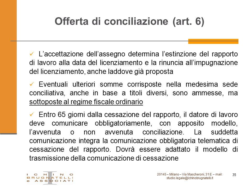 Offerta di conciliazione (art. 6)
