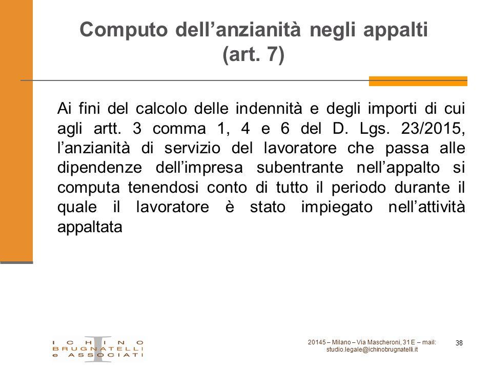 Computo dell'anzianità negli appalti (art. 7)