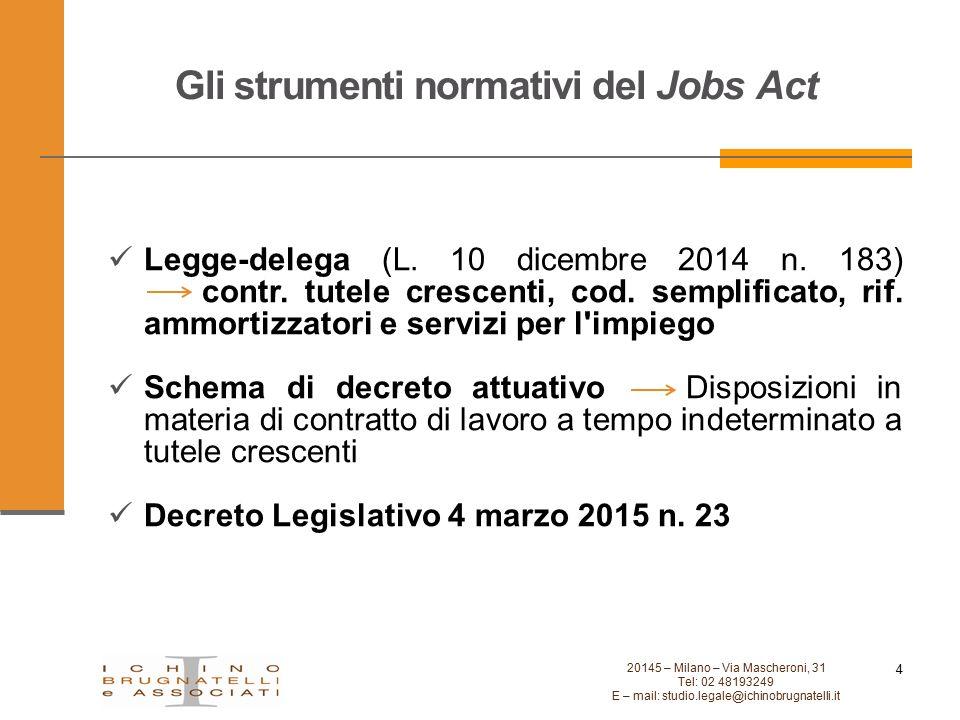 Gli strumenti normativi del Jobs Act