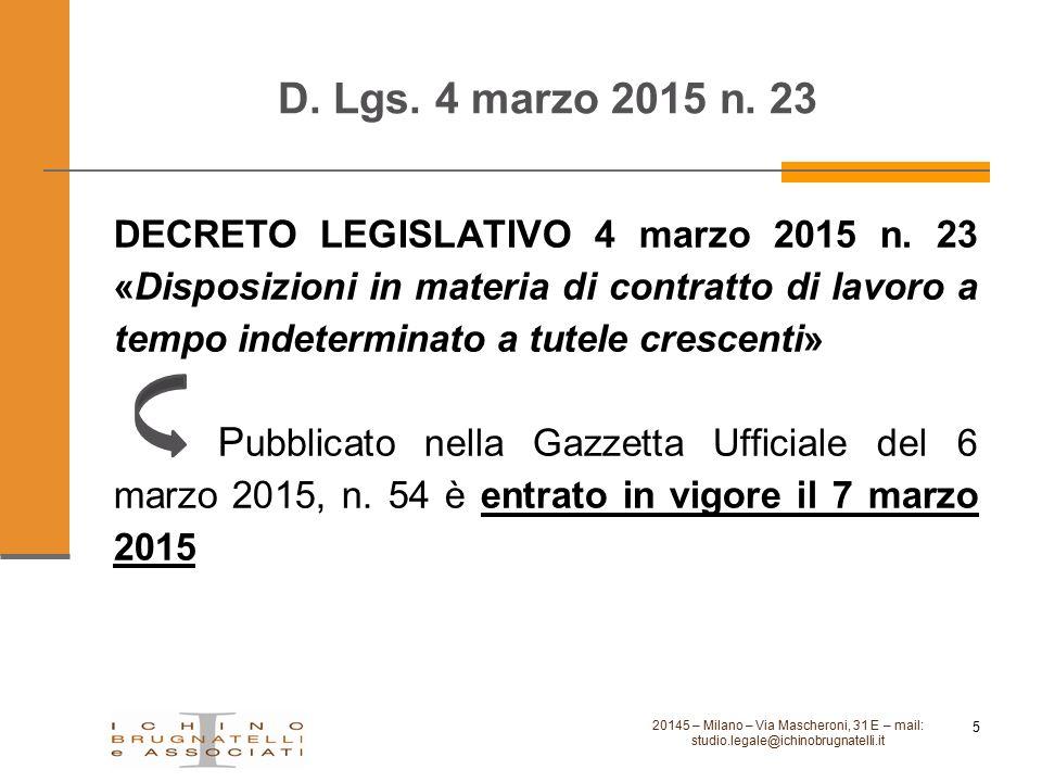 D. Lgs. 4 marzo 2015 n. 23