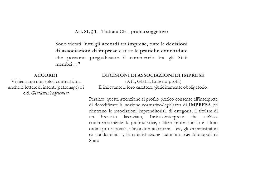 Art. 81, § 1 – Trattato CE – profilo soggettivo