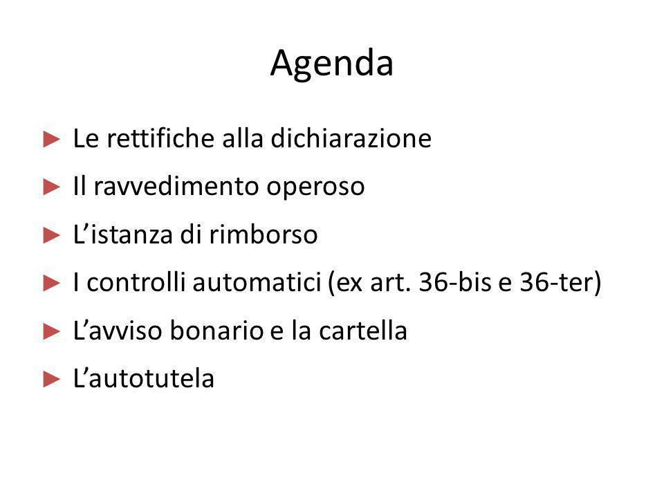 Agenda Le rettifiche alla dichiarazione Il ravvedimento operoso