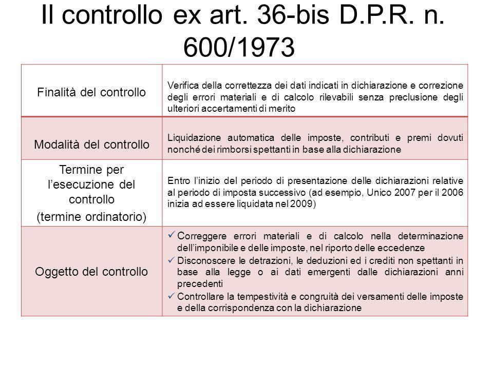 Il controllo ex art. 36-bis D.P.R. n. 600/1973
