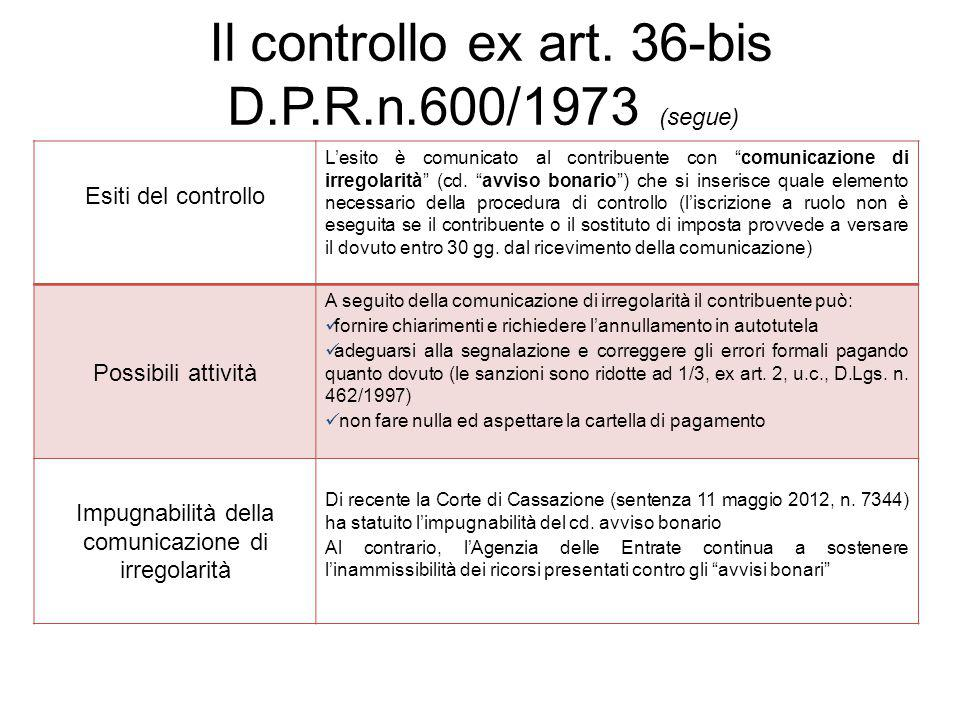 Il controllo ex art. 36-bis D.P.R.n.600/1973 (segue)