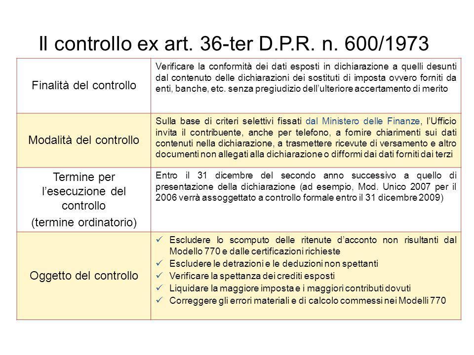 Il controllo ex art. 36-ter D.P.R. n. 600/1973