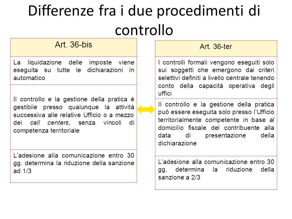 Differenze fra i due procedimenti di controllo
