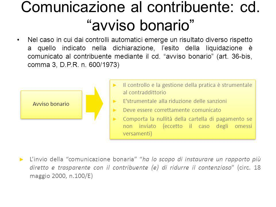 Comunicazione al contribuente: cd. avviso bonario