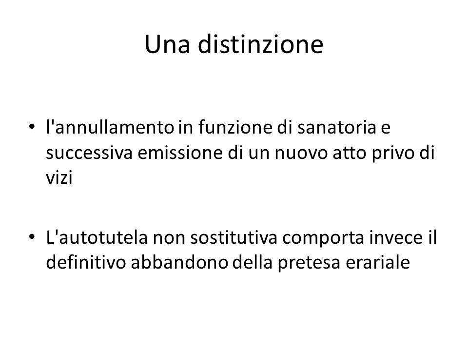 Una distinzione l annullamento in funzione di sanatoria e successiva emissione di un nuovo atto privo di vizi.