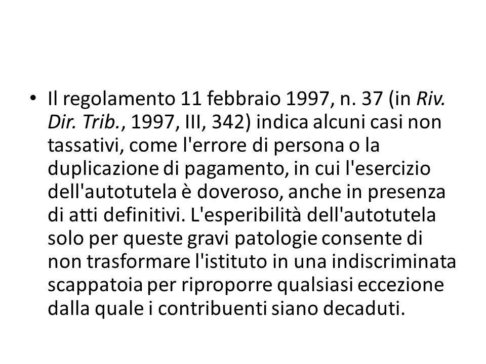 Il regolamento 11 febbraio 1997, n. 37 (in Riv. Dir. Trib