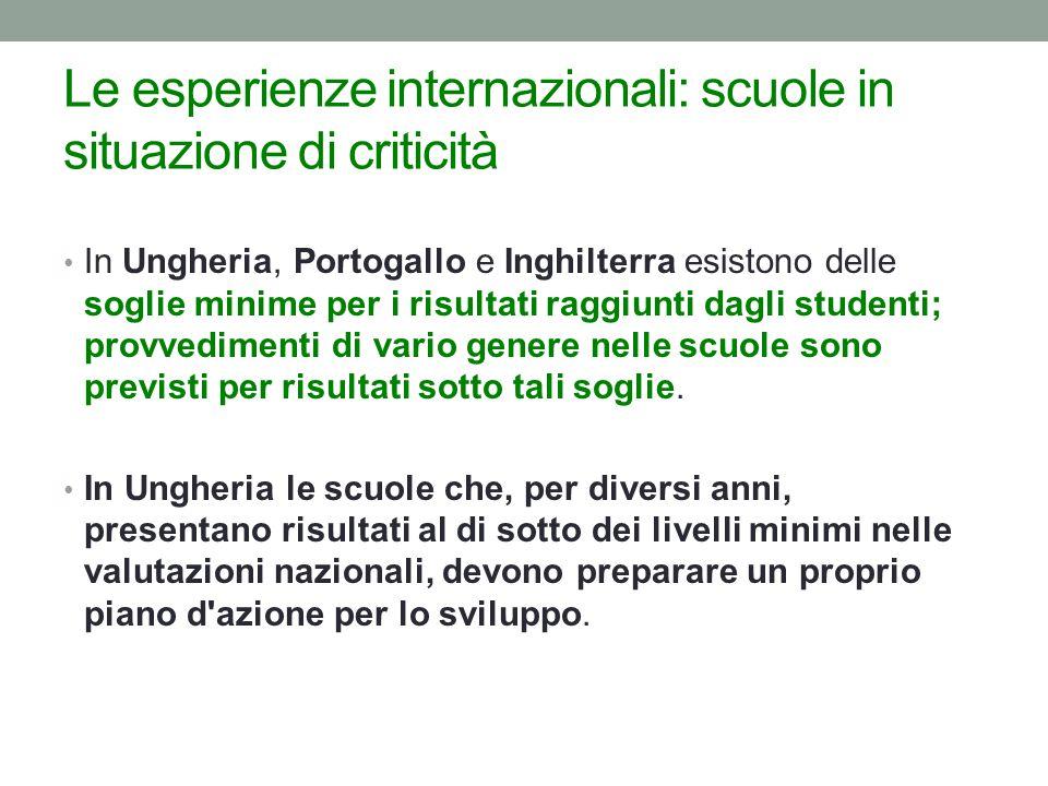 Le esperienze internazionali: scuole in situazione di criticità