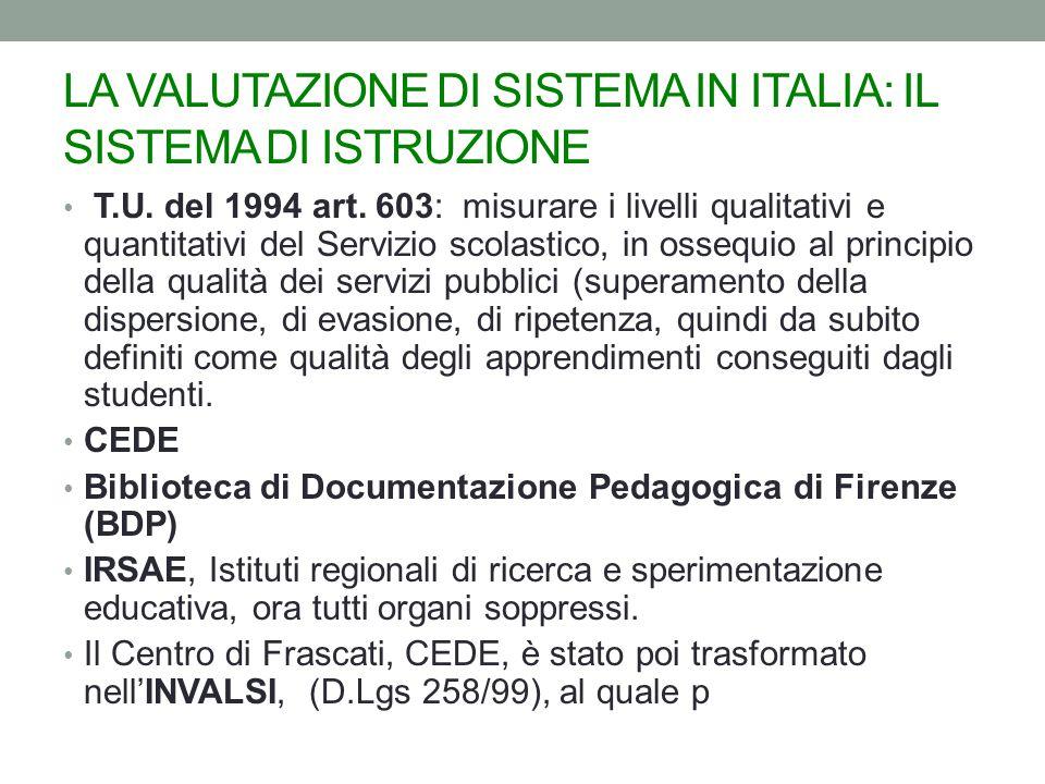 LA VALUTAZIONE DI SISTEMA IN ITALIA: IL SISTEMA DI ISTRUZIONE