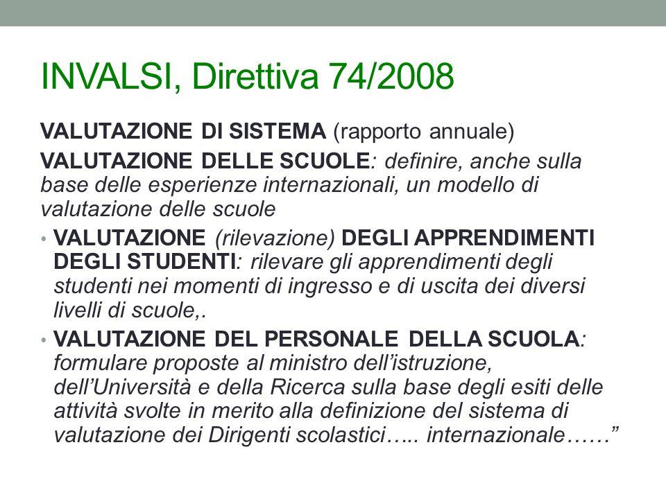 INVALSI, Direttiva 74/2008 VALUTAZIONE DI SISTEMA (rapporto annuale)