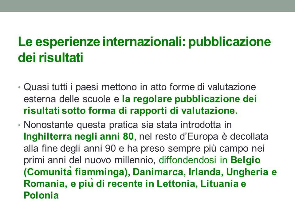 Le esperienze internazionali: pubblicazione dei risultati