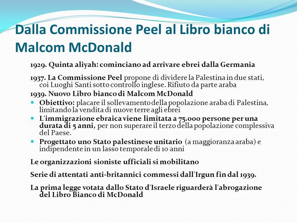 Dalla Commissione Peel al Libro bianco di Malcom McDonald