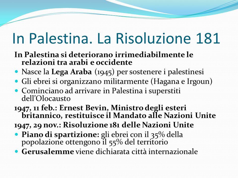 In Palestina. La Risoluzione 181