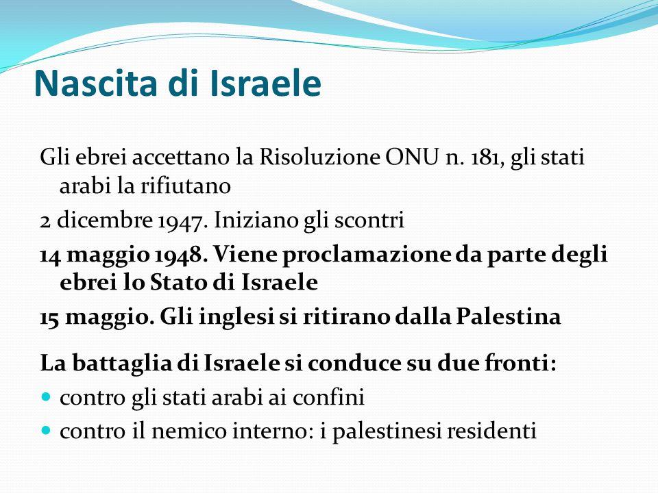 Nascita di Israele Gli ebrei accettano la Risoluzione ONU n. 181, gli stati arabi la rifiutano. 2 dicembre 1947. Iniziano gli scontri.