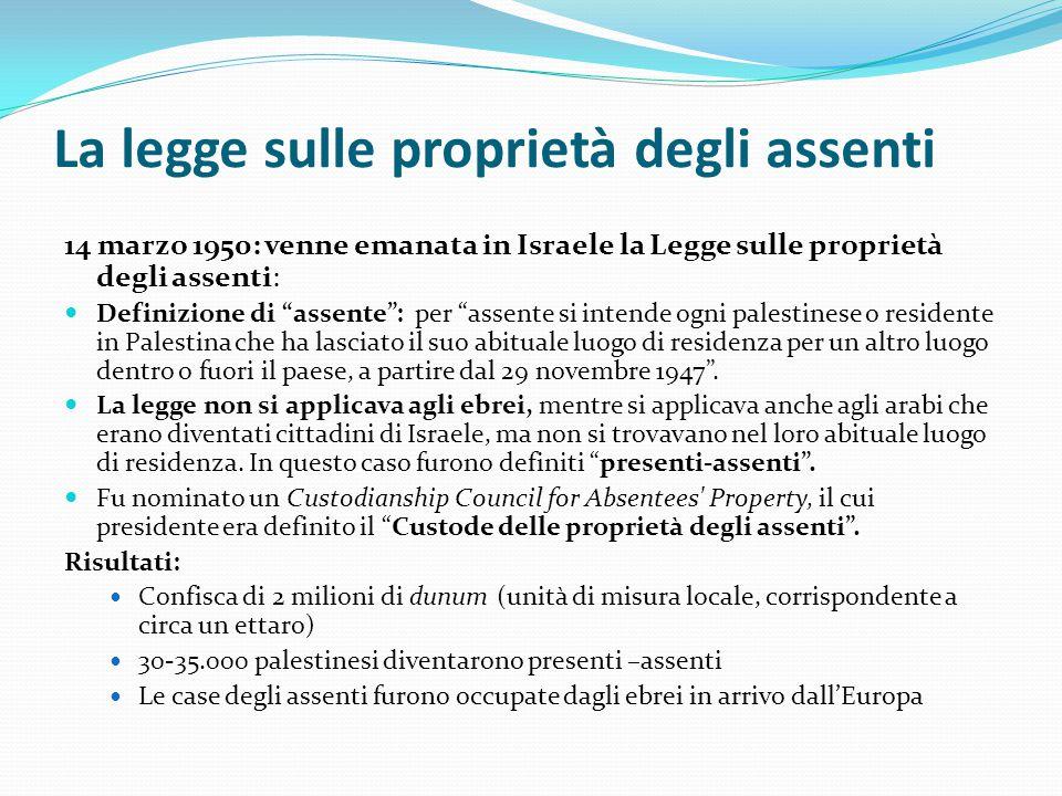 La legge sulle proprietà degli assenti
