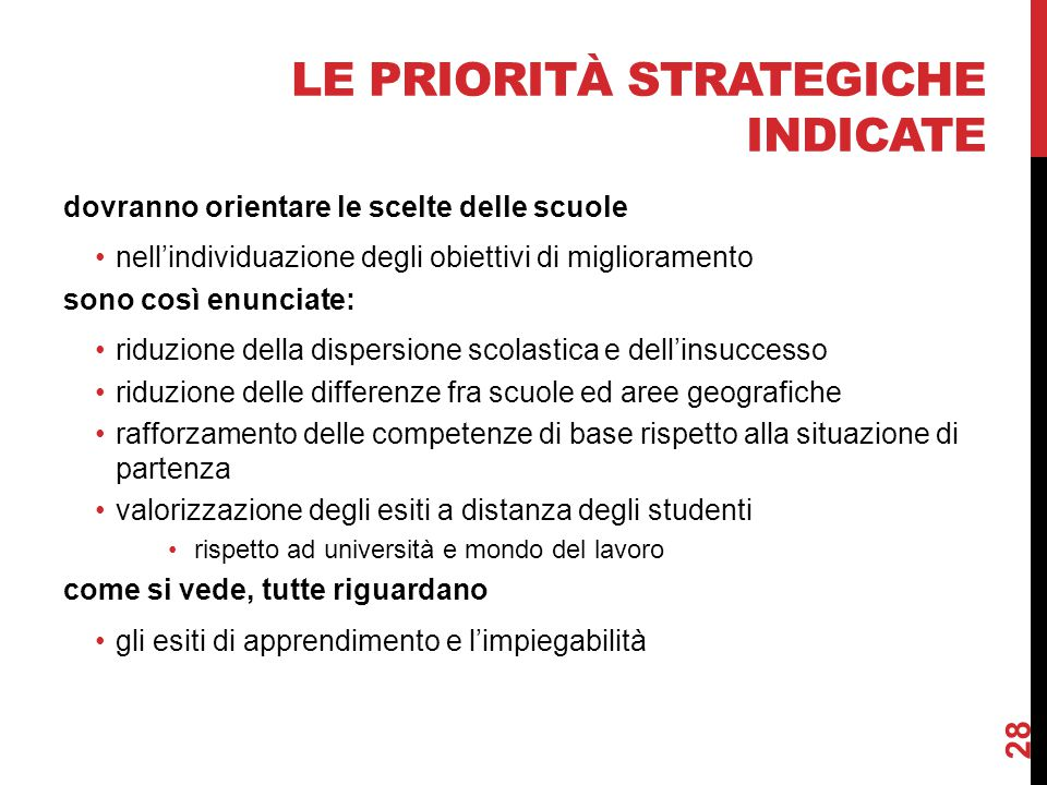 le priorità strategiche indicate